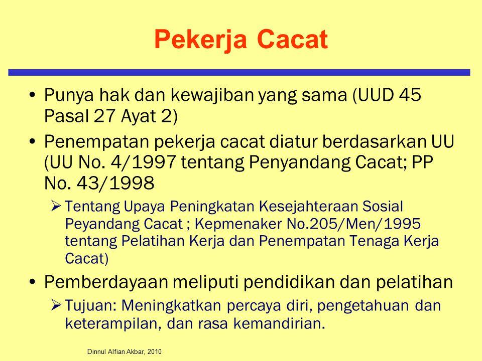 Pekerja Cacat Punya hak dan kewajiban yang sama (UUD 45 Pasal 27 Ayat 2)
