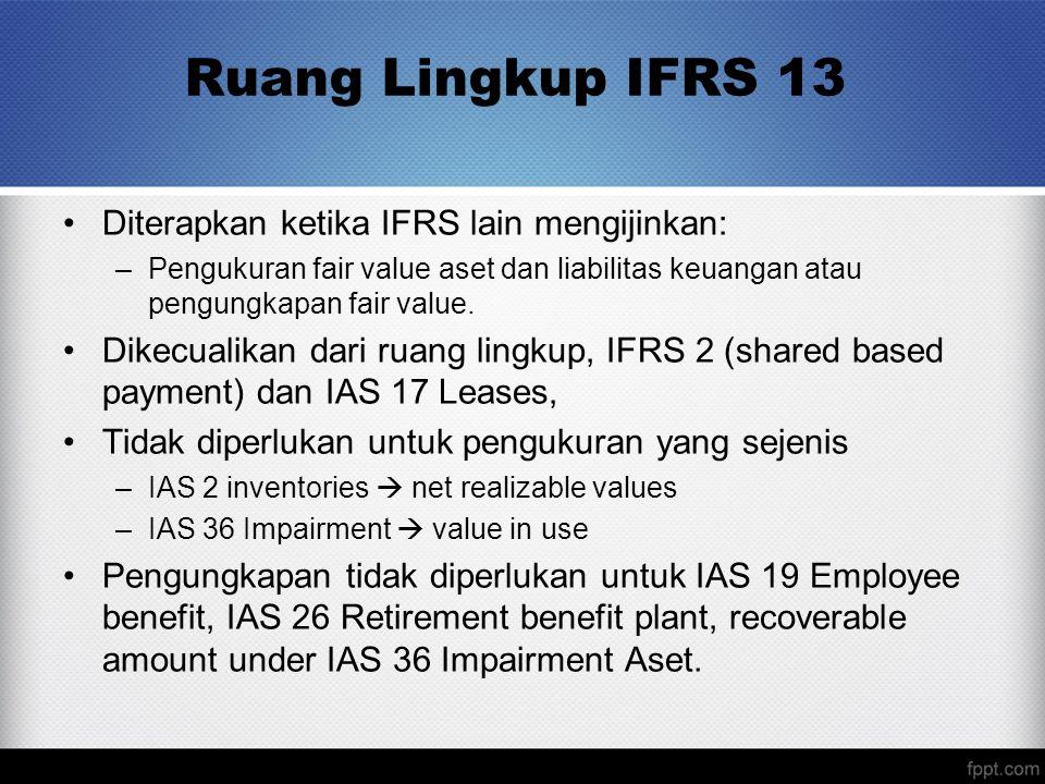 Ruang Lingkup IFRS 13 Diterapkan ketika IFRS lain mengijinkan: