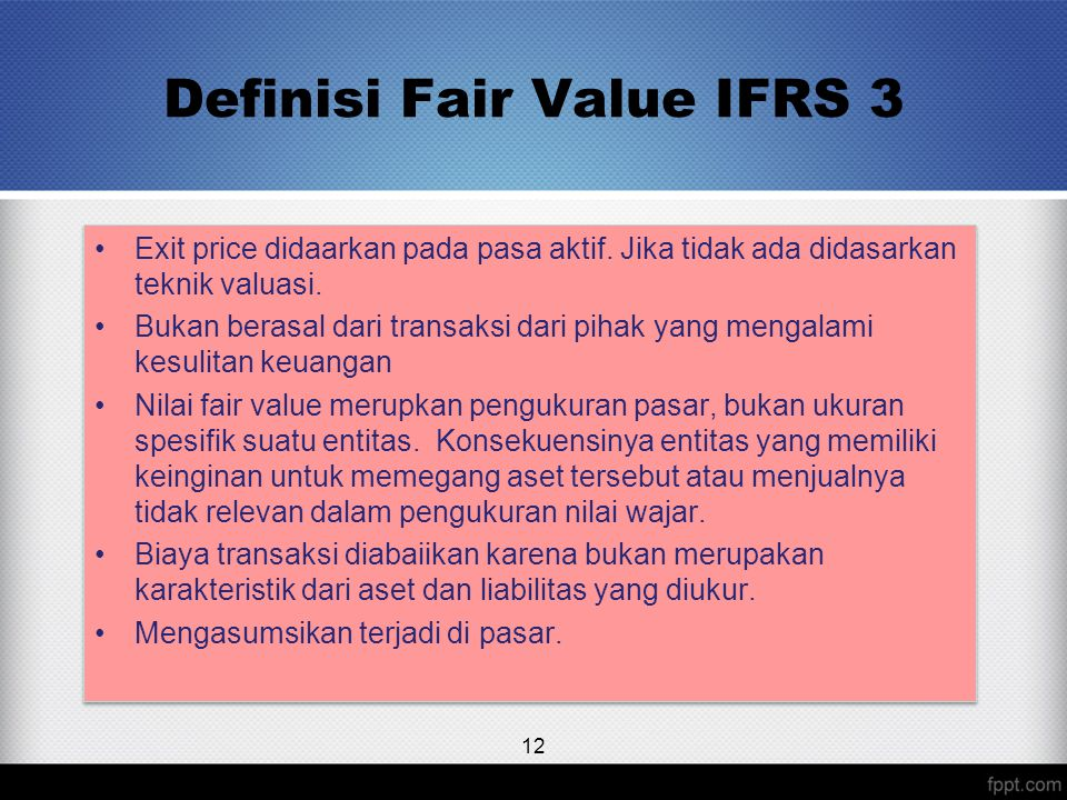 Definisi Fair Value IFRS 3