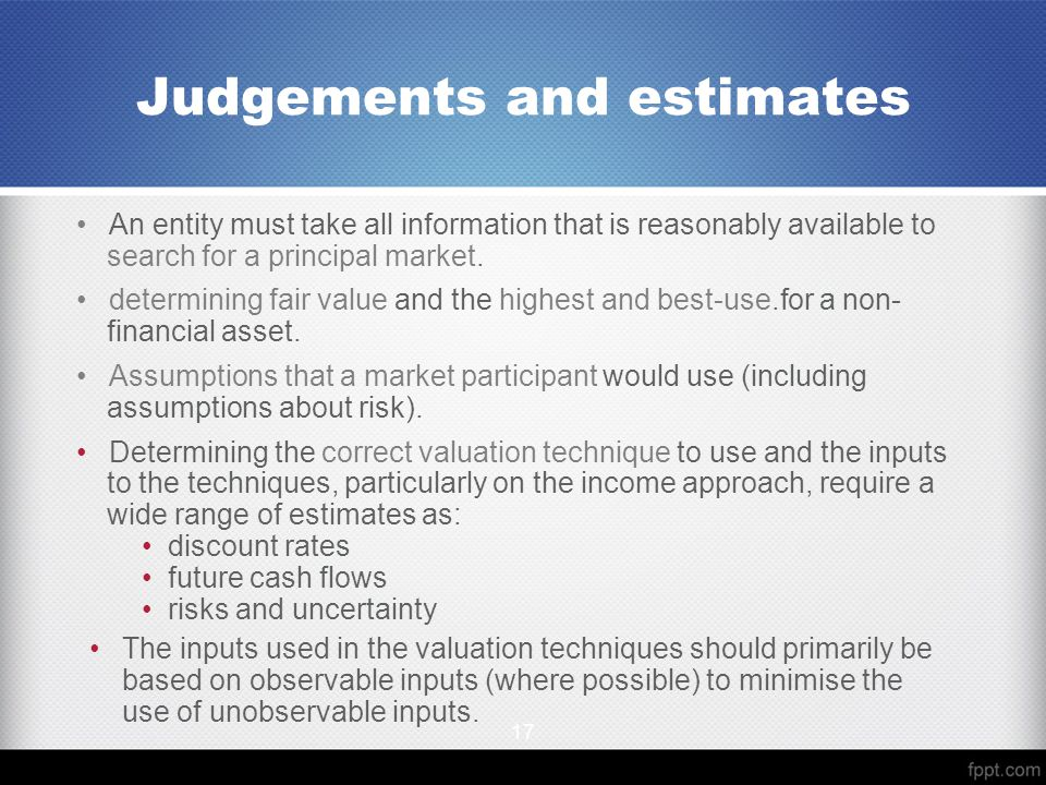 Judgements and estimates