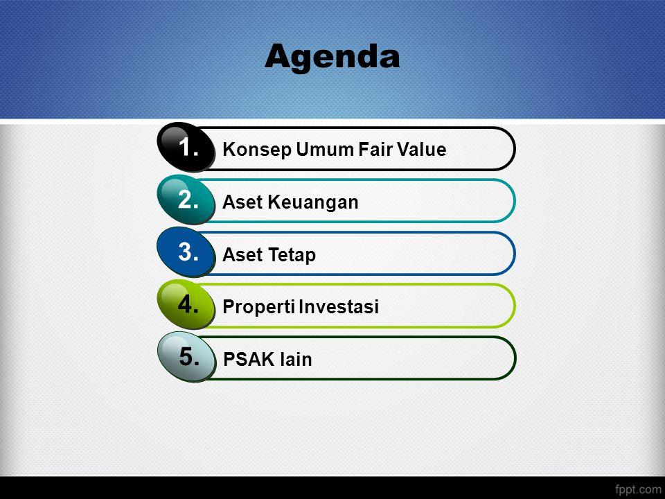 Agenda 1. 2. 3. 4. 5. Konsep Umum Fair Value Aset Keuangan Aset Tetap