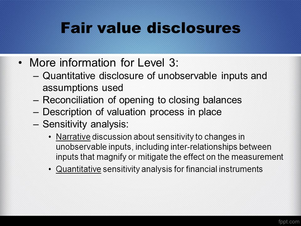 Fair value disclosures