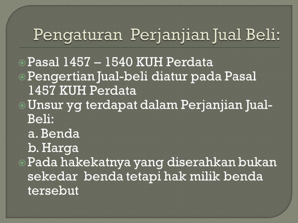 Pengaturan Perjanjian Jual Beli: