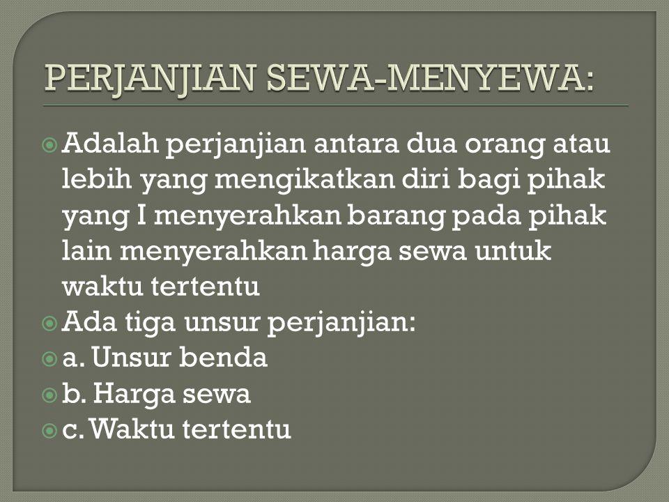 PERJANJIAN SEWA-MENYEWA: