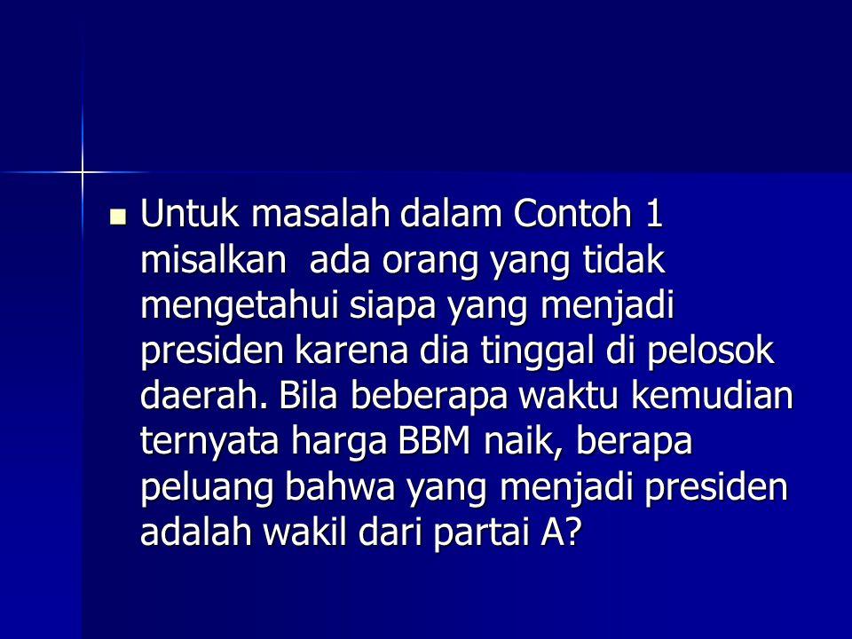 Untuk masalah dalam Contoh 1 misalkan ada orang yang tidak mengetahui siapa yang menjadi presiden karena dia tinggal di pelosok daerah.