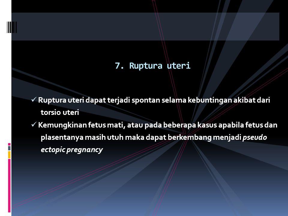 7. Ruptura uteri Ruptura uteri dapat terjadi spontan selama kebuntingan akibat dari. torsio uteri.