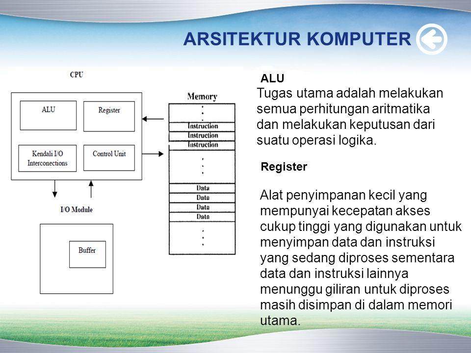 ARSITEKTUR KOMPUTER ALU. Tugas utama adalah melakukan semua perhitungan aritmatika dan melakukan keputusan dari suatu operasi logika.