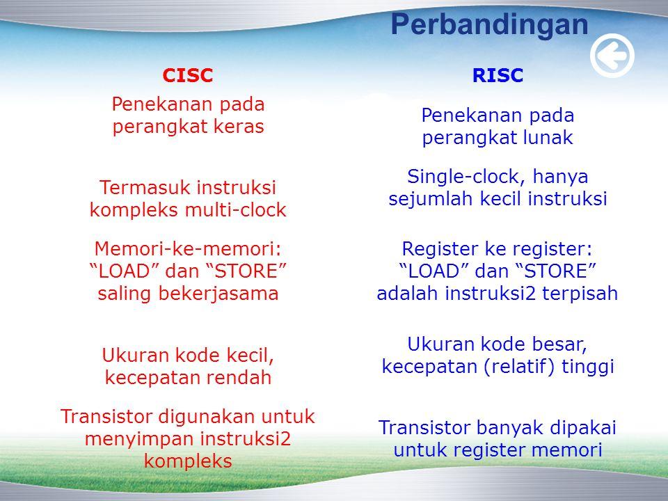 Perbandingan CISC RISC Penekanan pada perangkat keras