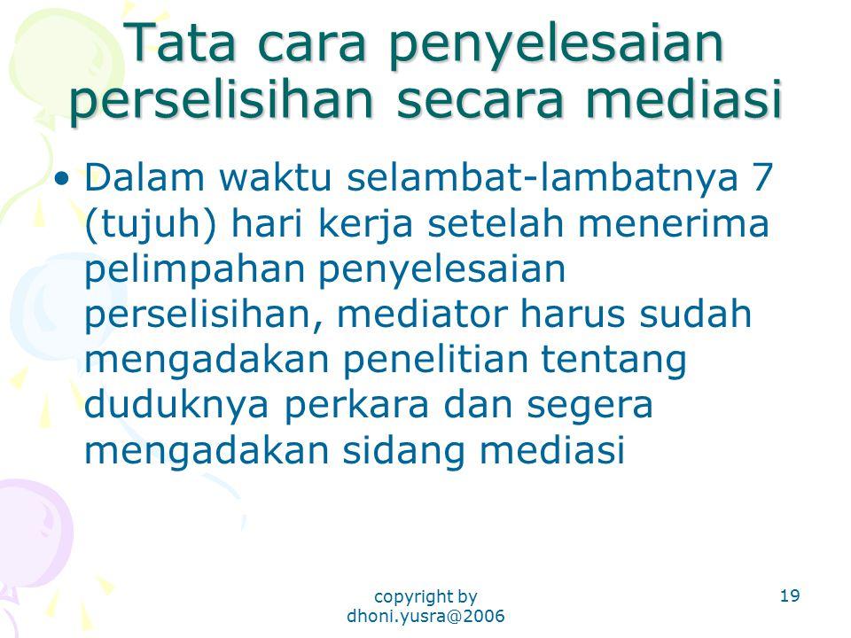 Tata cara penyelesaian perselisihan secara mediasi