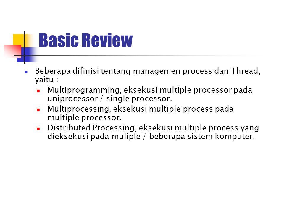 Basic Review Beberapa difinisi tentang managemen process dan Thread, yaitu :