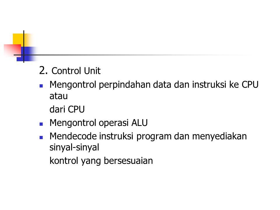 2. Control Unit Mengontrol perpindahan data dan instruksi ke CPU atau