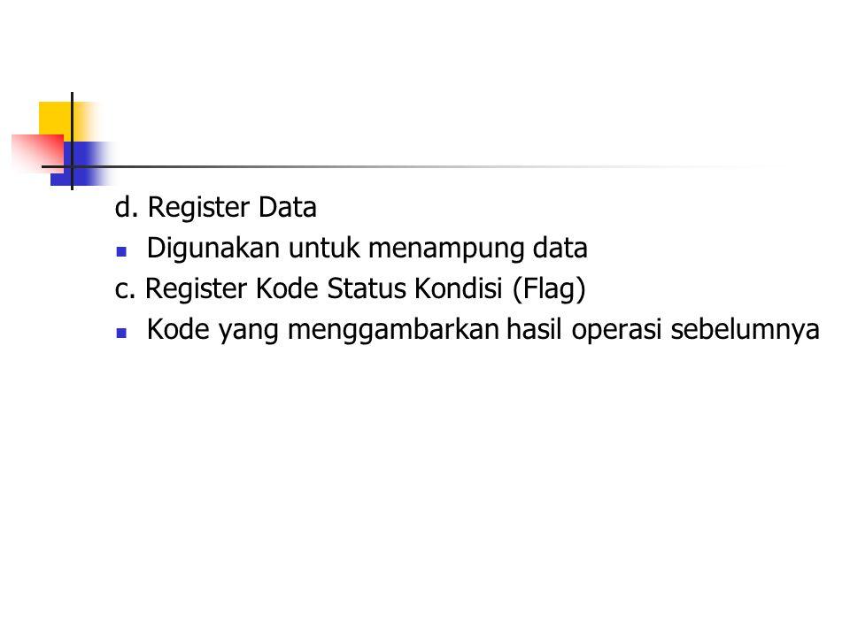 d. Register Data Digunakan untuk menampung data. c.