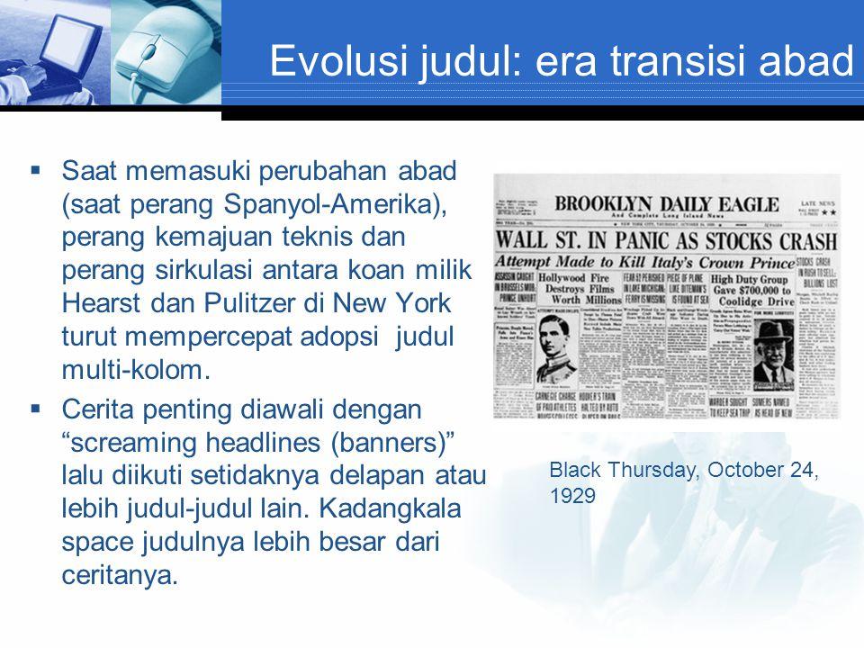 Evolusi judul: era transisi abad
