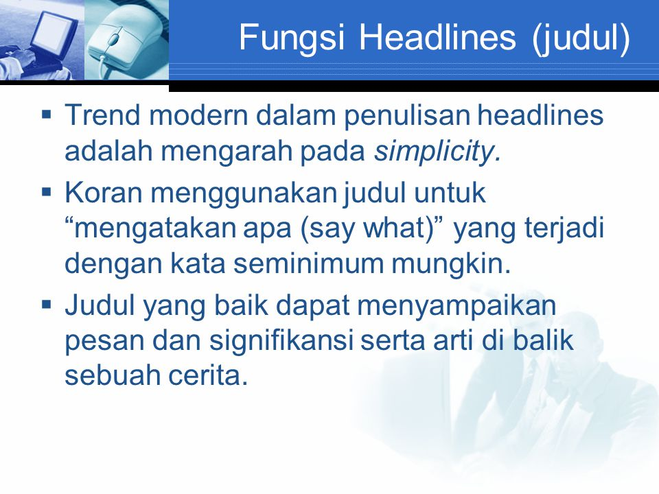 Fungsi Headlines (judul)