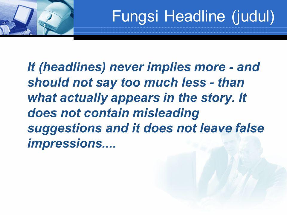 Fungsi Headline (judul)