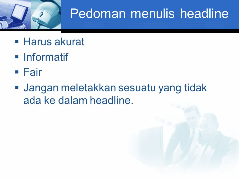 Pedoman menulis headline