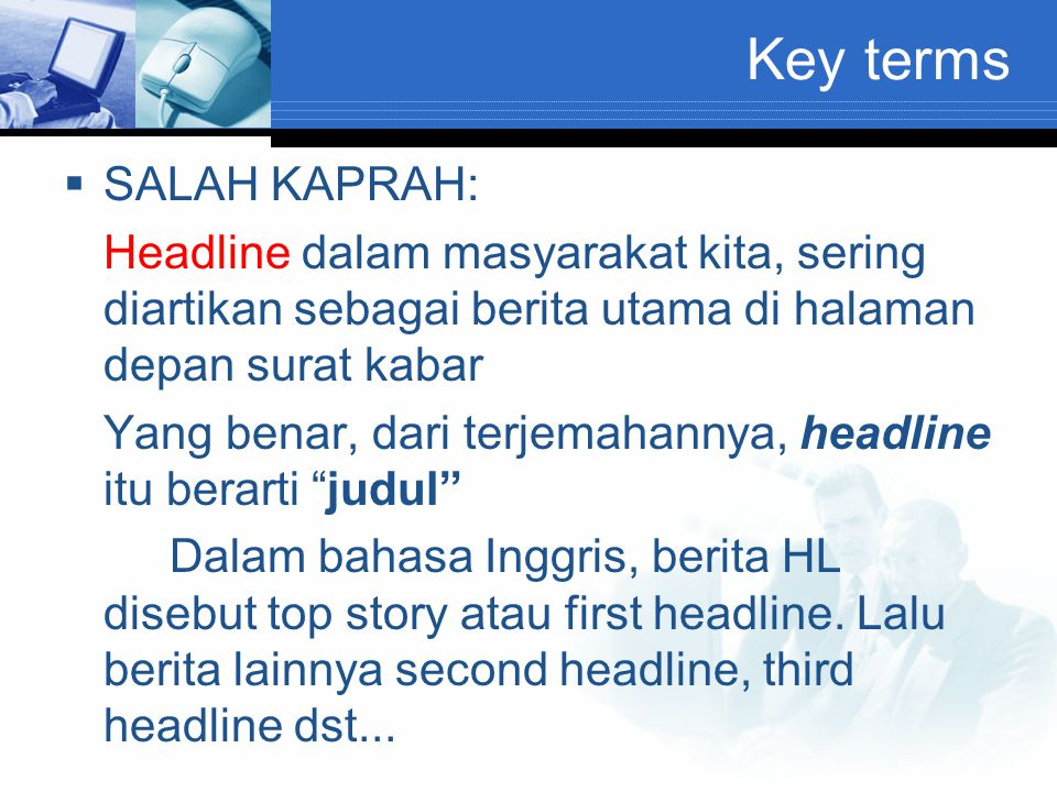 Key terms SALAH KAPRAH: