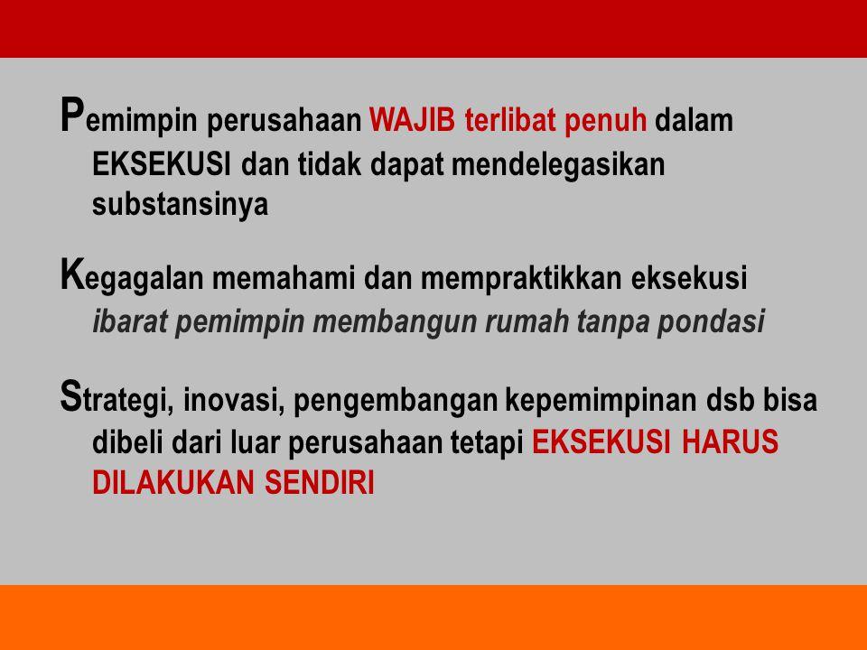 Pemimpin perusahaan WAJIB terlibat penuh dalam EKSEKUSI dan tidak dapat mendelegasikan substansinya
