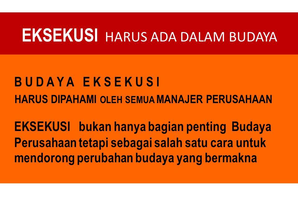 EKSEKUSI HARUS ADA DALAM BUDAYA
