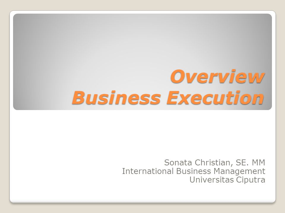 Overview Business Execution