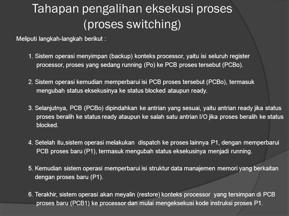 Tahapan pengalihan eksekusi proses (proses switching)