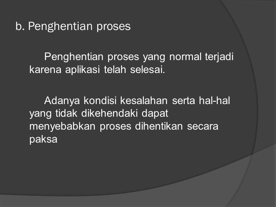 b. Penghentian proses