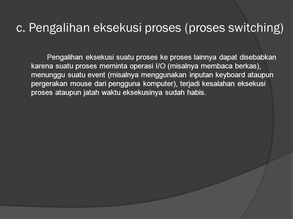 c. Pengalihan eksekusi proses (proses switching)