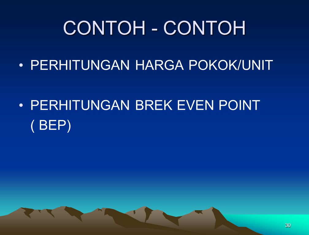 CONTOH - CONTOH PERHITUNGAN HARGA POKOK/UNIT