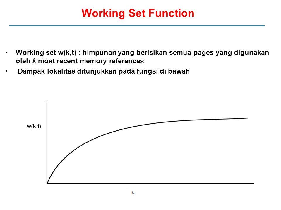 Working Set Function Working set w(k,t) : himpunan yang berisikan semua pages yang digunakan oleh k most recent memory references.
