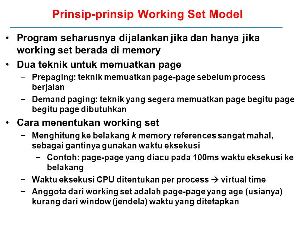 Prinsip-prinsip Working Set Model