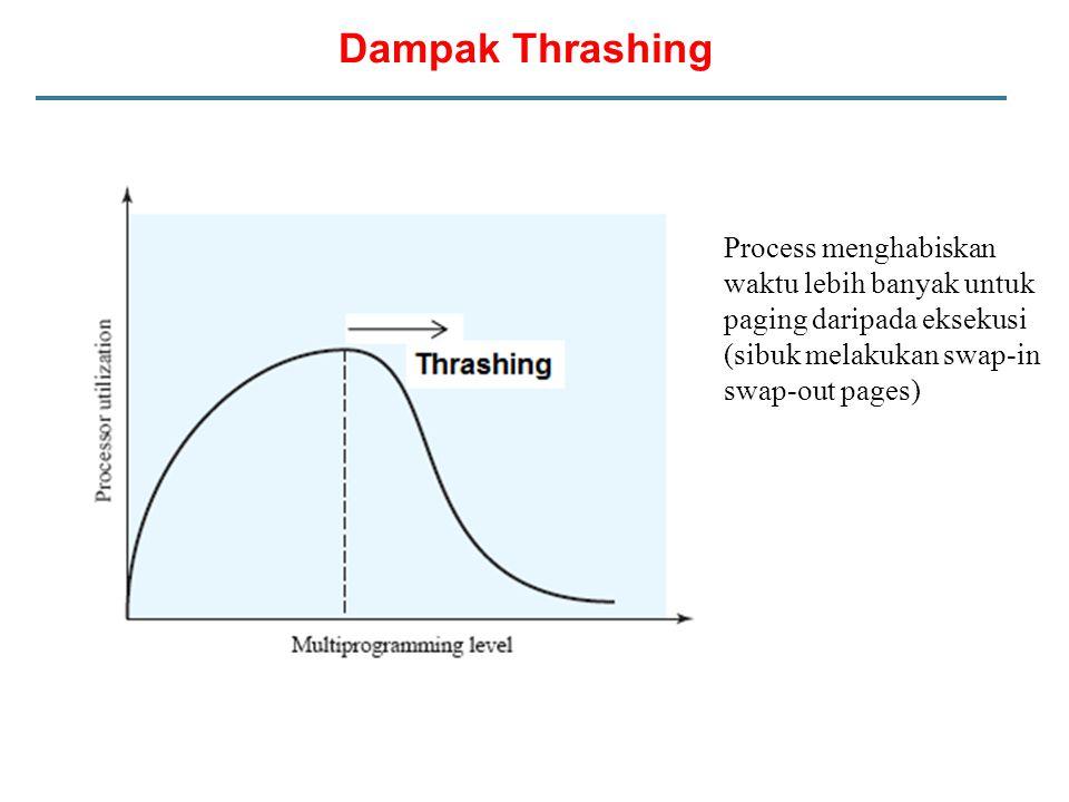Dampak Thrashing Process menghabiskan waktu lebih banyak untuk paging daripada eksekusi.
