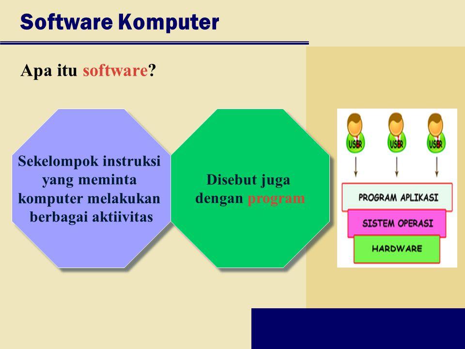 Software Komputer Apa itu software Sekelompok instruksi yang meminta