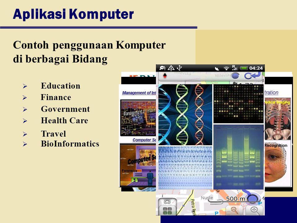 Aplikasi Komputer Contoh penggunaan Komputer di berbagai Bidang