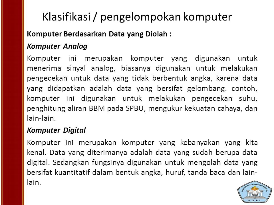 Klasifikasi / pengelompokan komputer