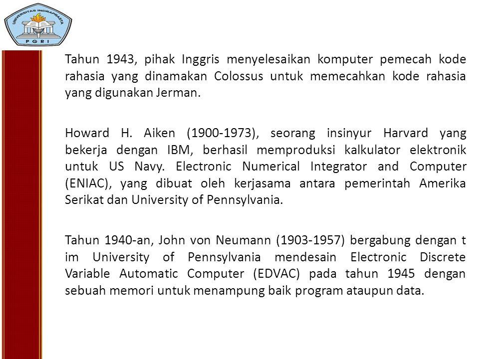 Tahun 1943, pihak Inggris menyelesaikan komputer pemecah kode