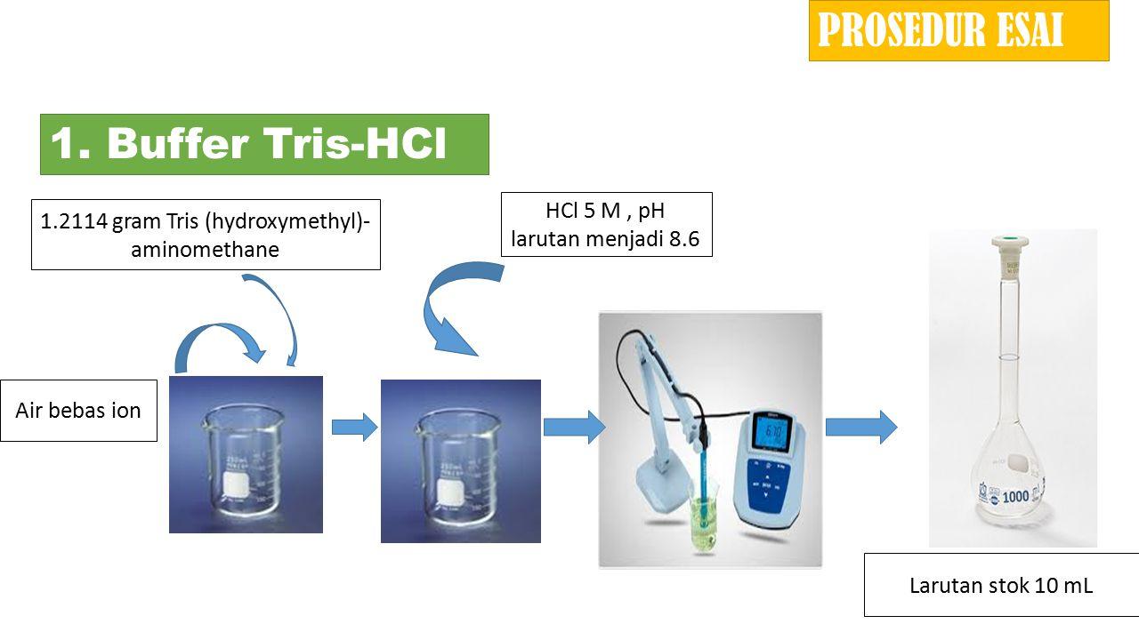 PROSEDUR ESAI 1. Buffer Tris-HCl HCl 5 M , pH larutan menjadi 8.6