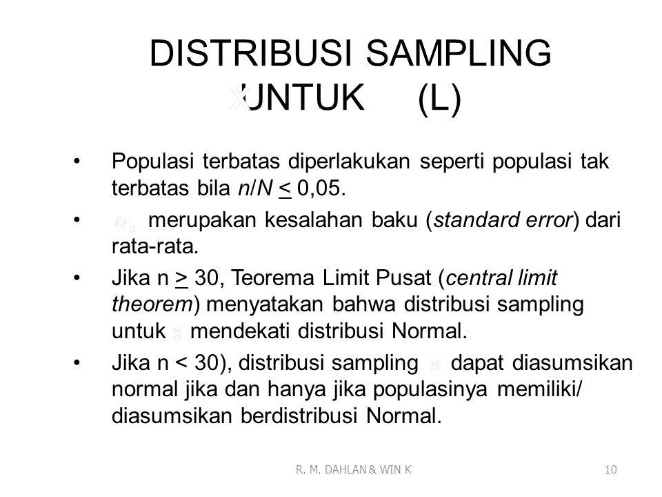 DISTRIBUSI SAMPLING UNTUK (L)