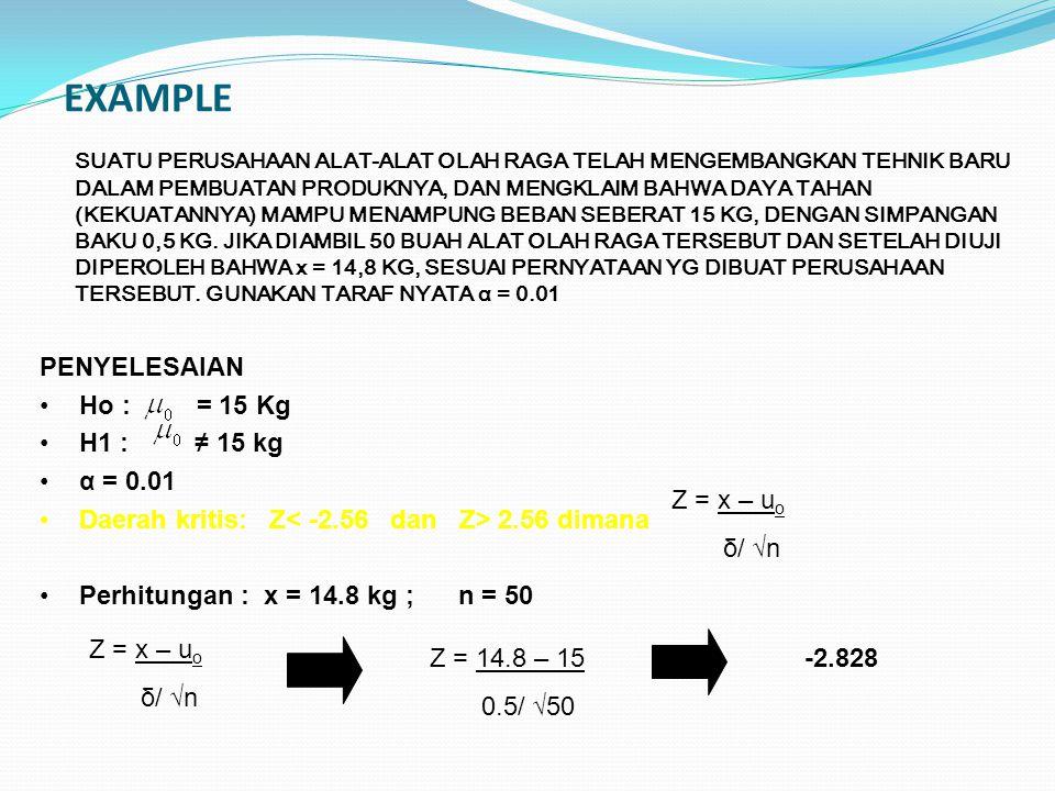 EXAMPLE PENYELESAIAN Ho : = 15 Kg H1 : ≠ 15 kg α = 0.01