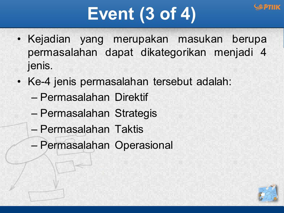 Event (3 of 4) Kejadian yang merupakan masukan berupa permasalahan dapat dikategorikan menjadi 4 jenis.