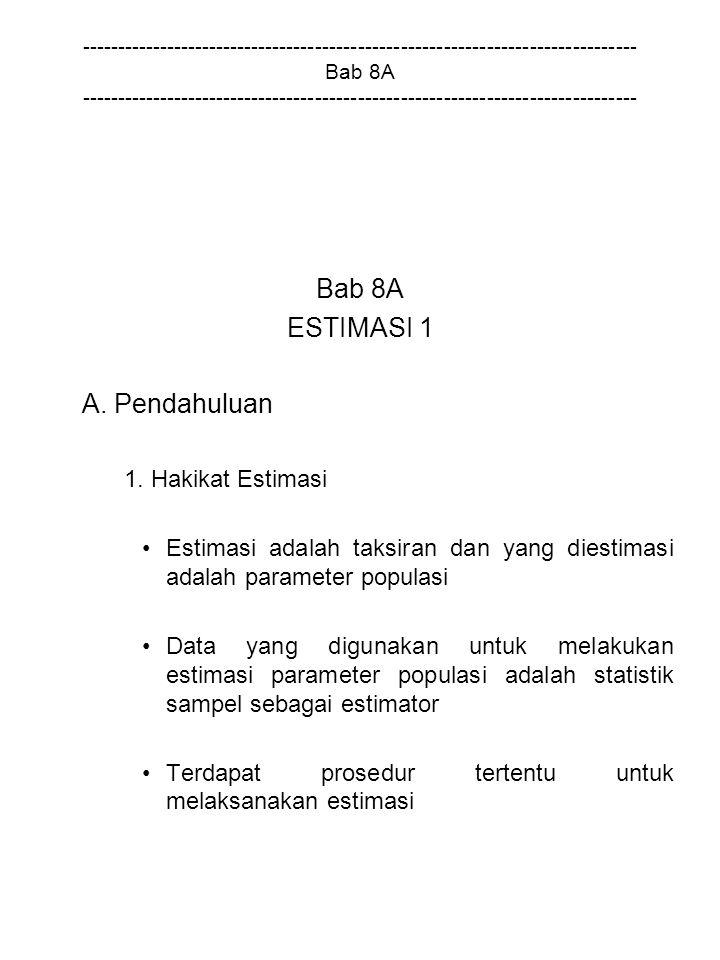 Bab 8A ESTIMASI 1 A. Pendahuluan 1. Hakikat Estimasi