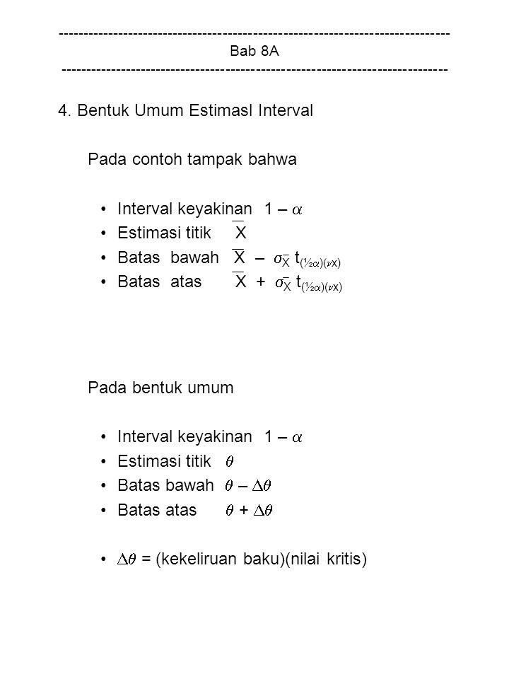 4. Bentuk Umum Estimasl Interval Pada contoh tampak bahwa