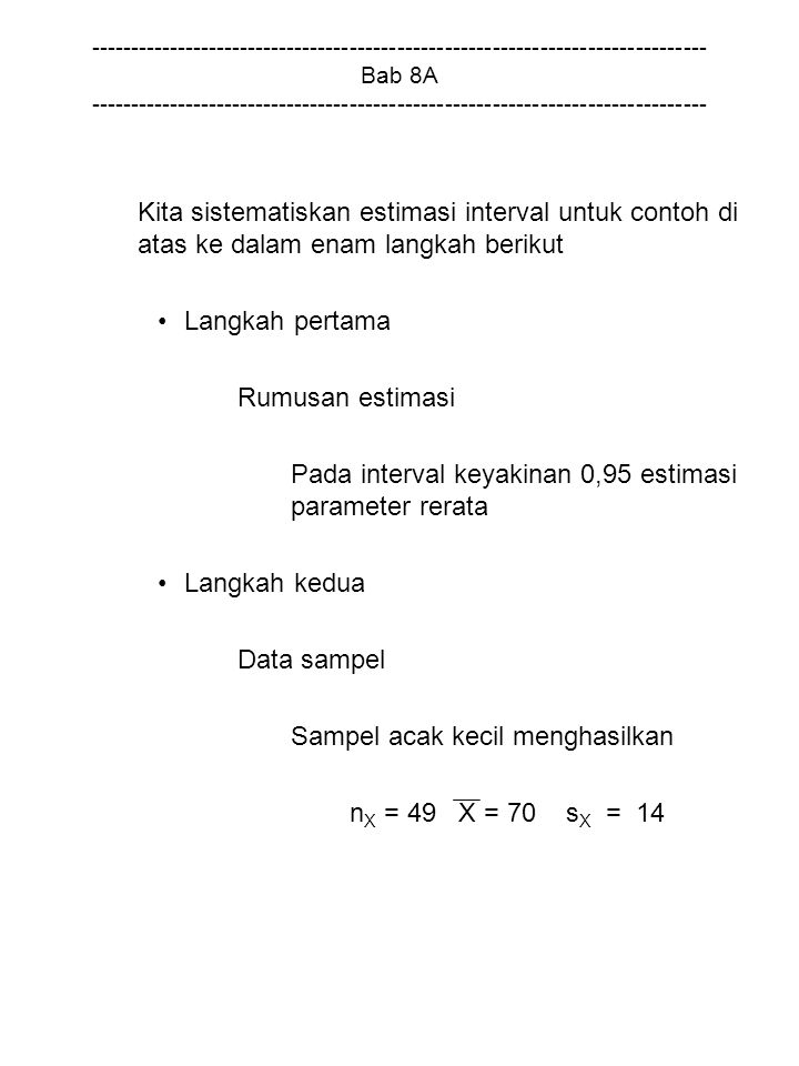 Pada interval keyakinan 0,95 estimasi parameter rerata