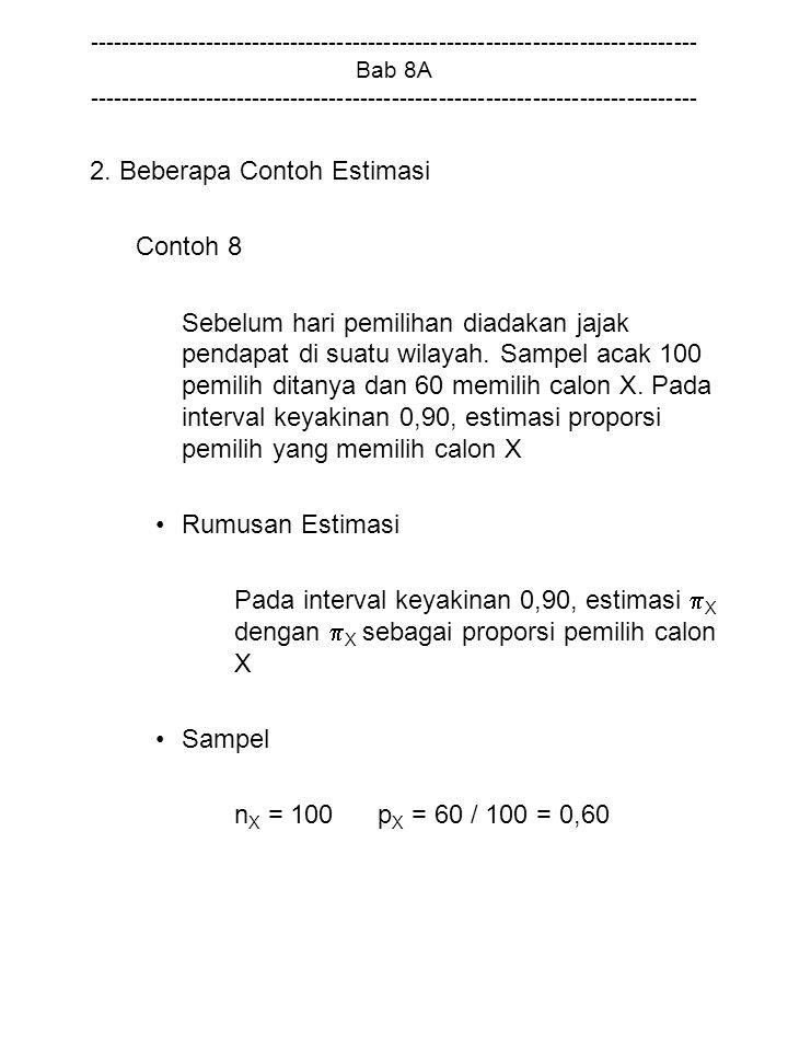 2. Beberapa Contoh Estimasi Contoh 8