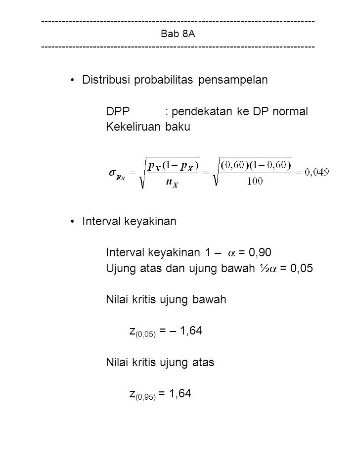Distribusi probabilitas pensampelan DPP : pendekatan ke DP normal