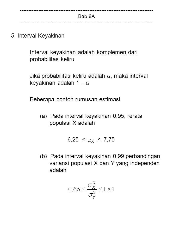 Interval keyakinan adalah komplemen dari probabilitas keliru