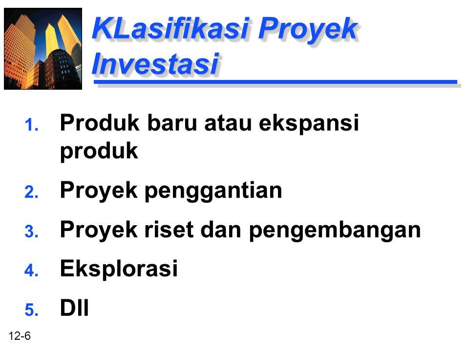 KLasifikasi Proyek Investasi