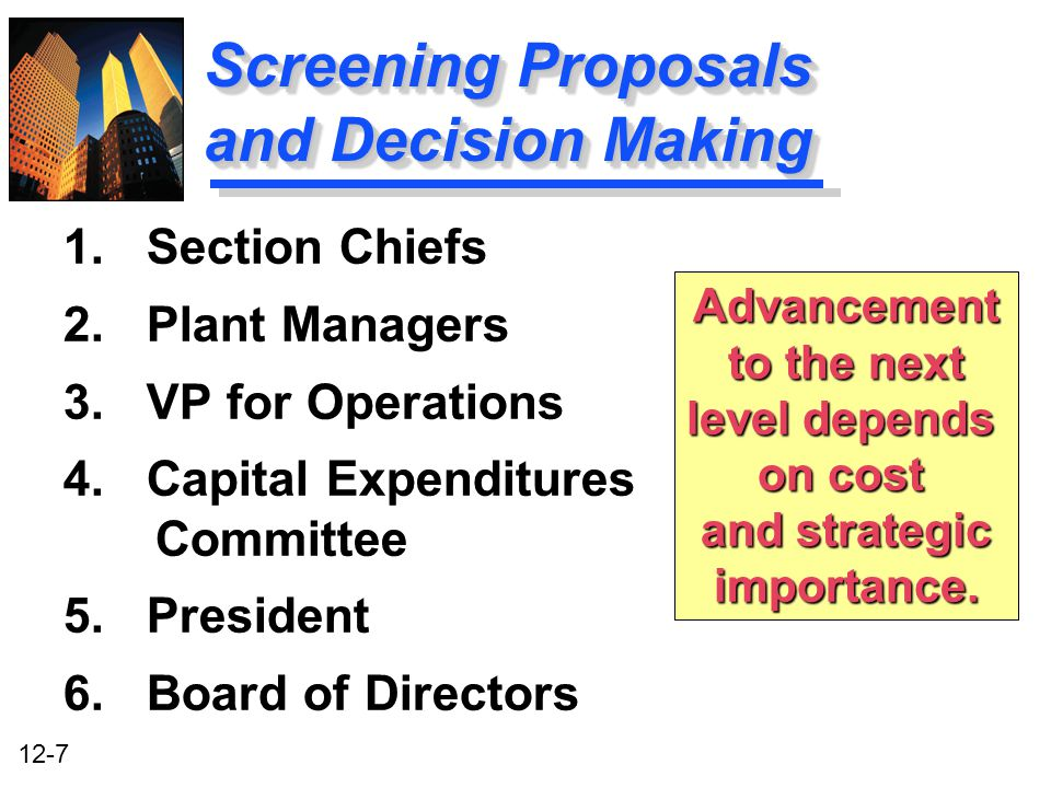 Screening Proposals and Decision Making