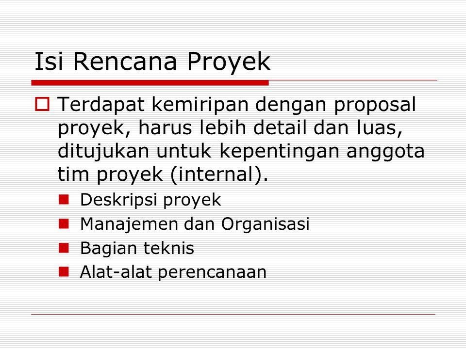 Isi Rencana Proyek Terdapat kemiripan dengan proposal proyek, harus lebih detail dan luas, ditujukan untuk kepentingan anggota tim proyek (internal).