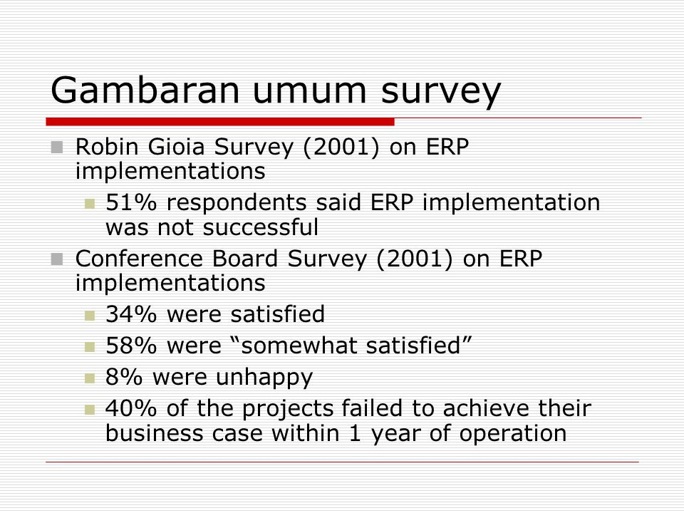Gambaran umum survey Robin Gioia Survey (2001) on ERP implementations