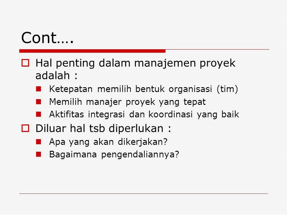 Cont…. Hal penting dalam manajemen proyek adalah :
